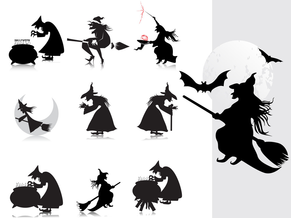 Collection Of Witch Silhouette With Background