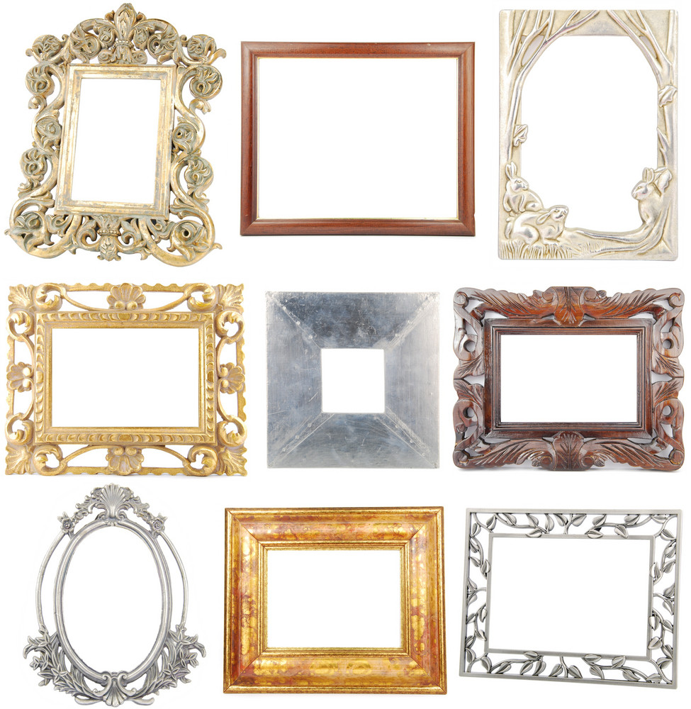 Collection Of Wooden And Metallic Frames On White