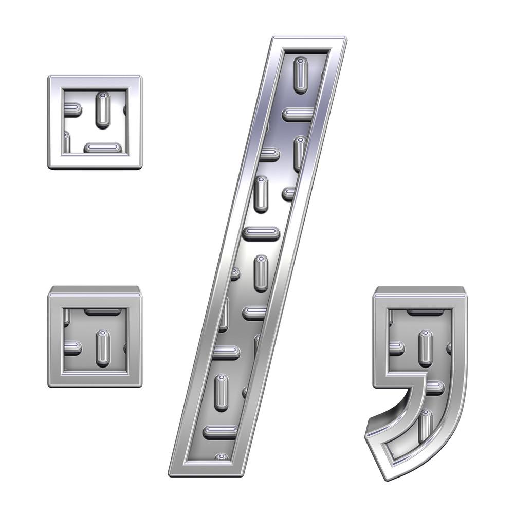 Colon, Semicolon, Period, Comma From Steel Tread Plate Alphabet Set