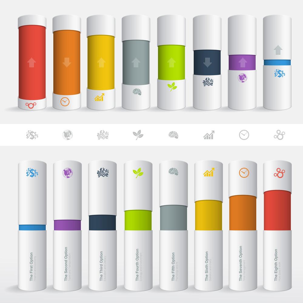 Color Boxes. Infographic Chart Vector Design Elements Set.
