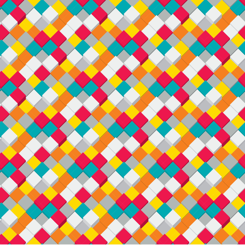 Color Cubes Seamless Texture. Vector Background.