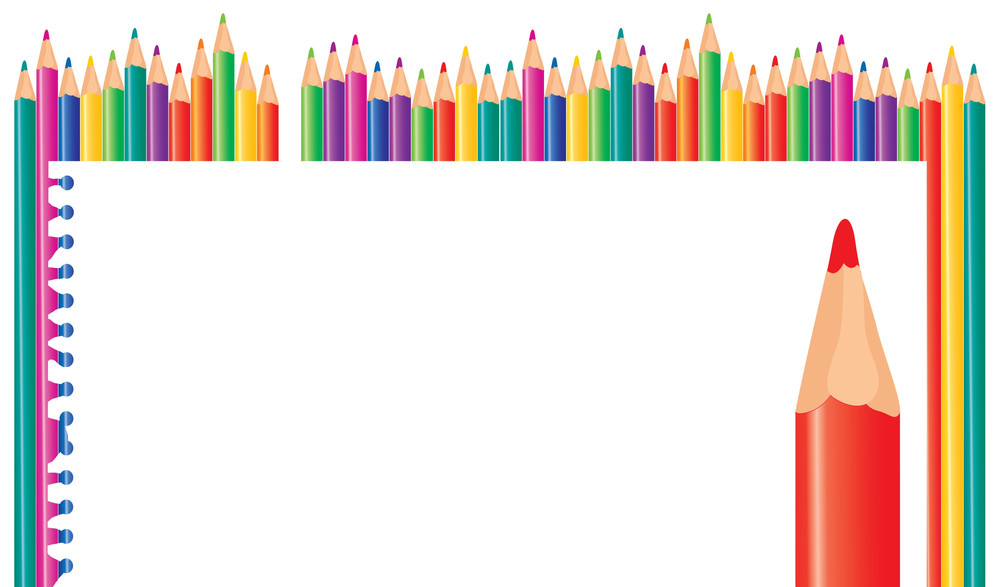 Color Pencils And Paper. Vector Background.