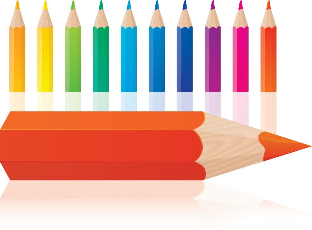 Color Pencils. Vector.