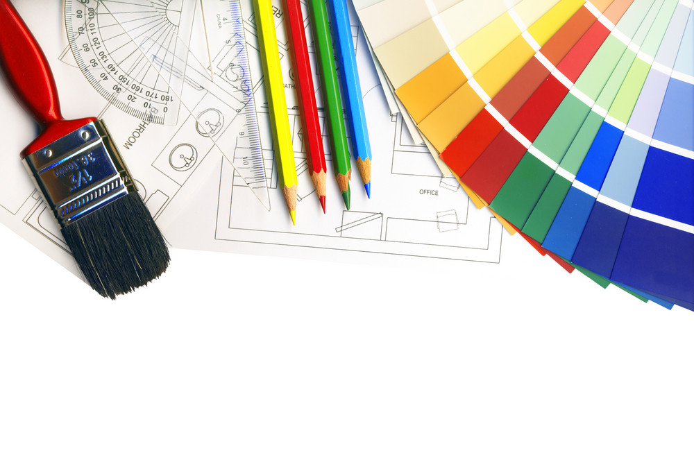 Color Swatches And Plans Isolated On White With Clipping Path