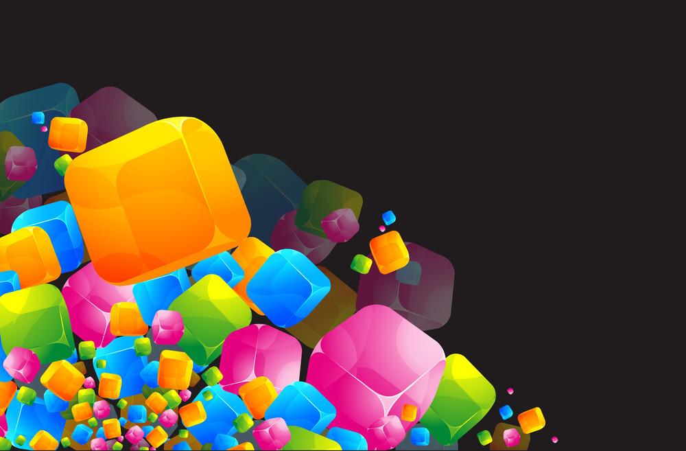 Color Transparent Cubes. Vector Template.