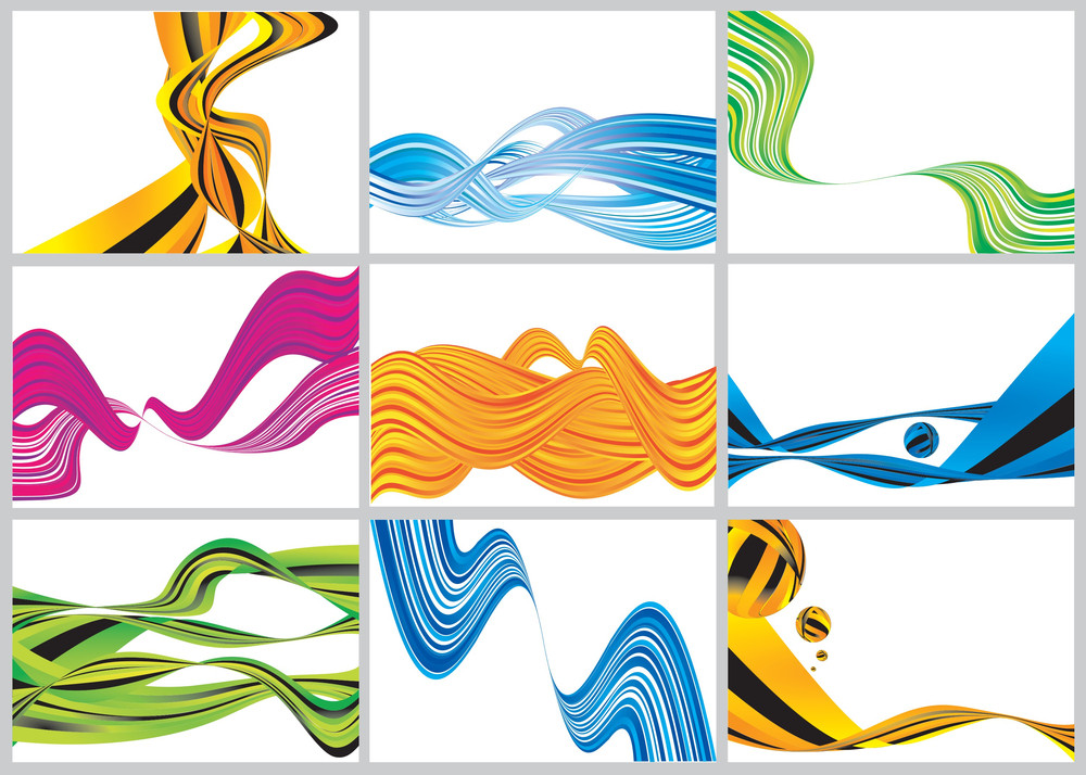 Color Waves. Vector Background Set.