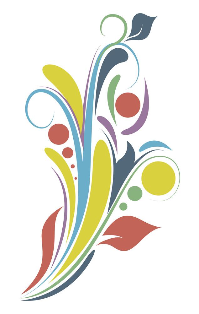 Colored Abstract Flourish Vector Design
