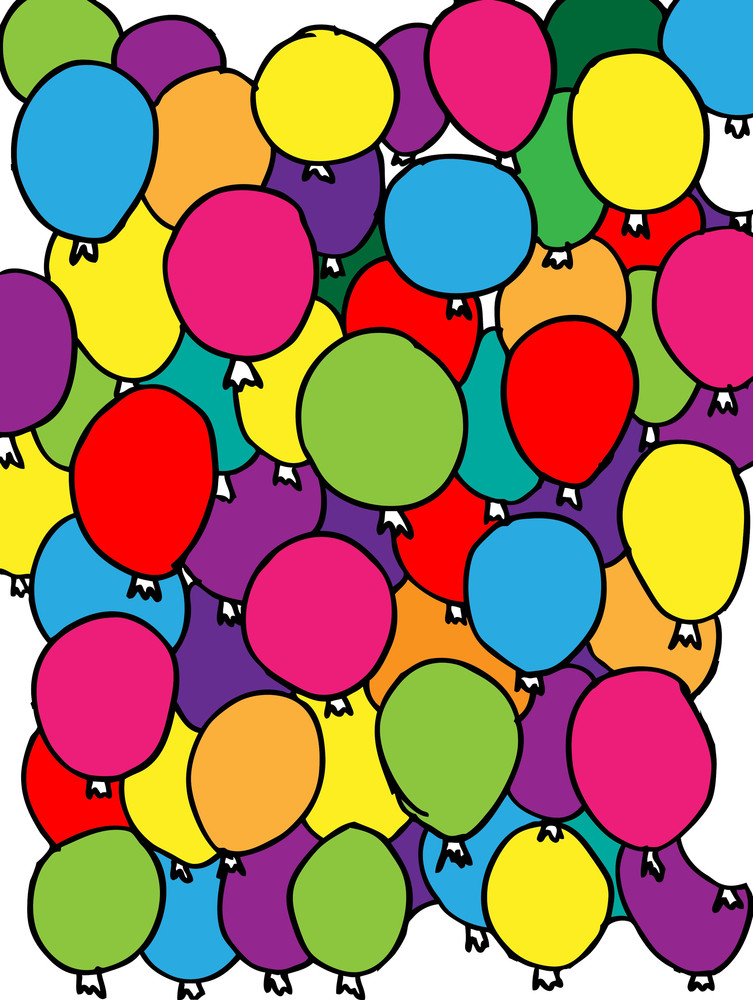 Colored Balloons Background. Vector Illustrations