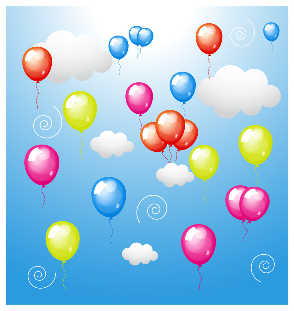 Colored Balloons With Clouds