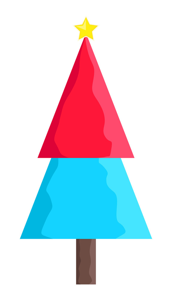 Colored Christmas Tree With Star