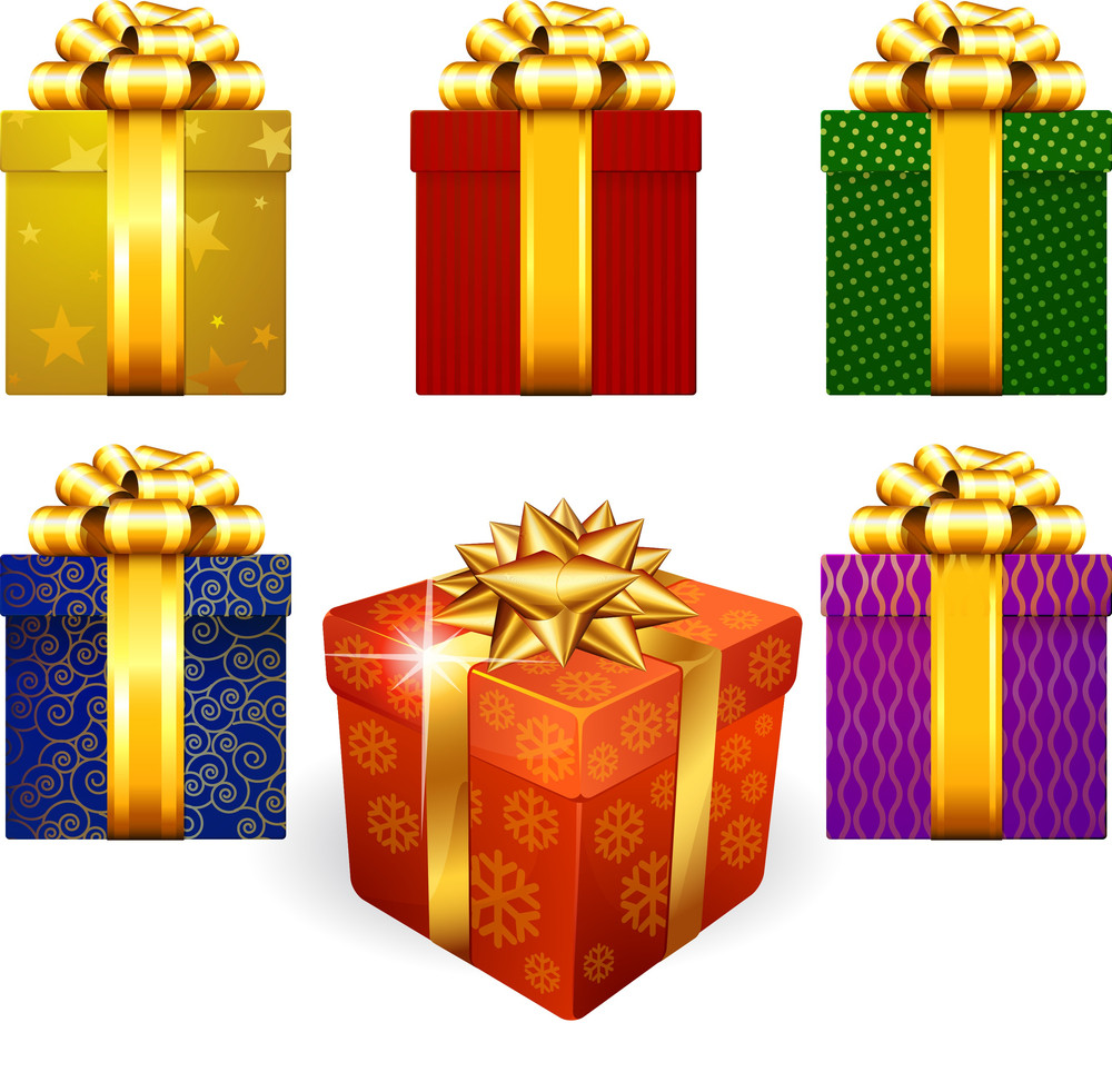 Colored Decorated Shining Gift Boxes With Golden Ribbon And Bow.
