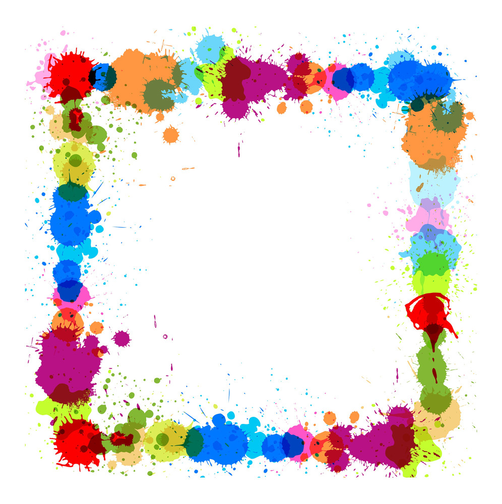 Colored Drops Frame Vector