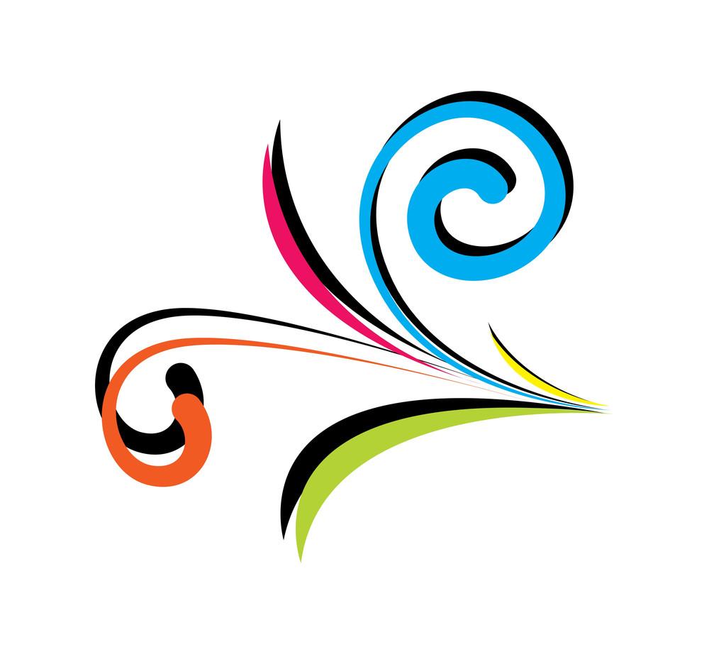 Colored Flourish Design Element