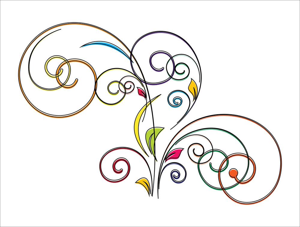 Colored Flourish Element