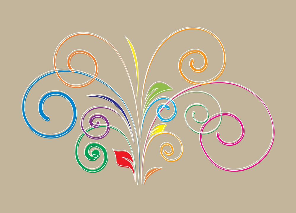 Colored Flourish Shape Vector