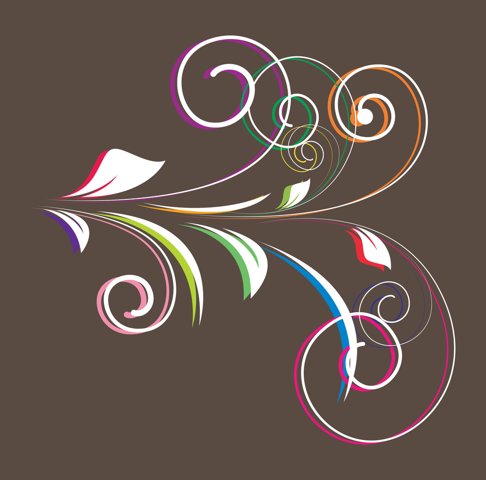 Colored Flourish Vector Shape Design