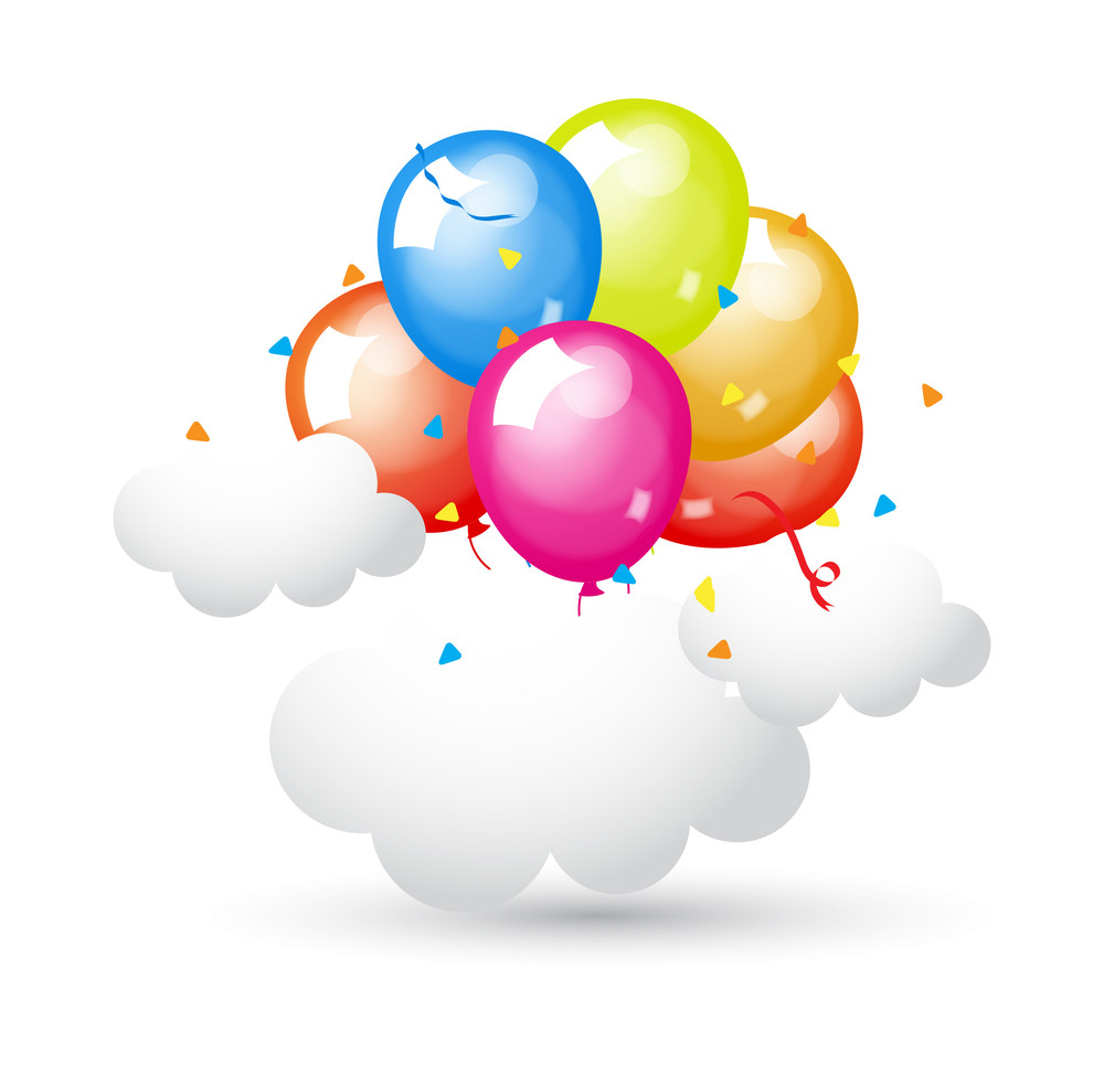 Colored Glossy Balloons With Clouds