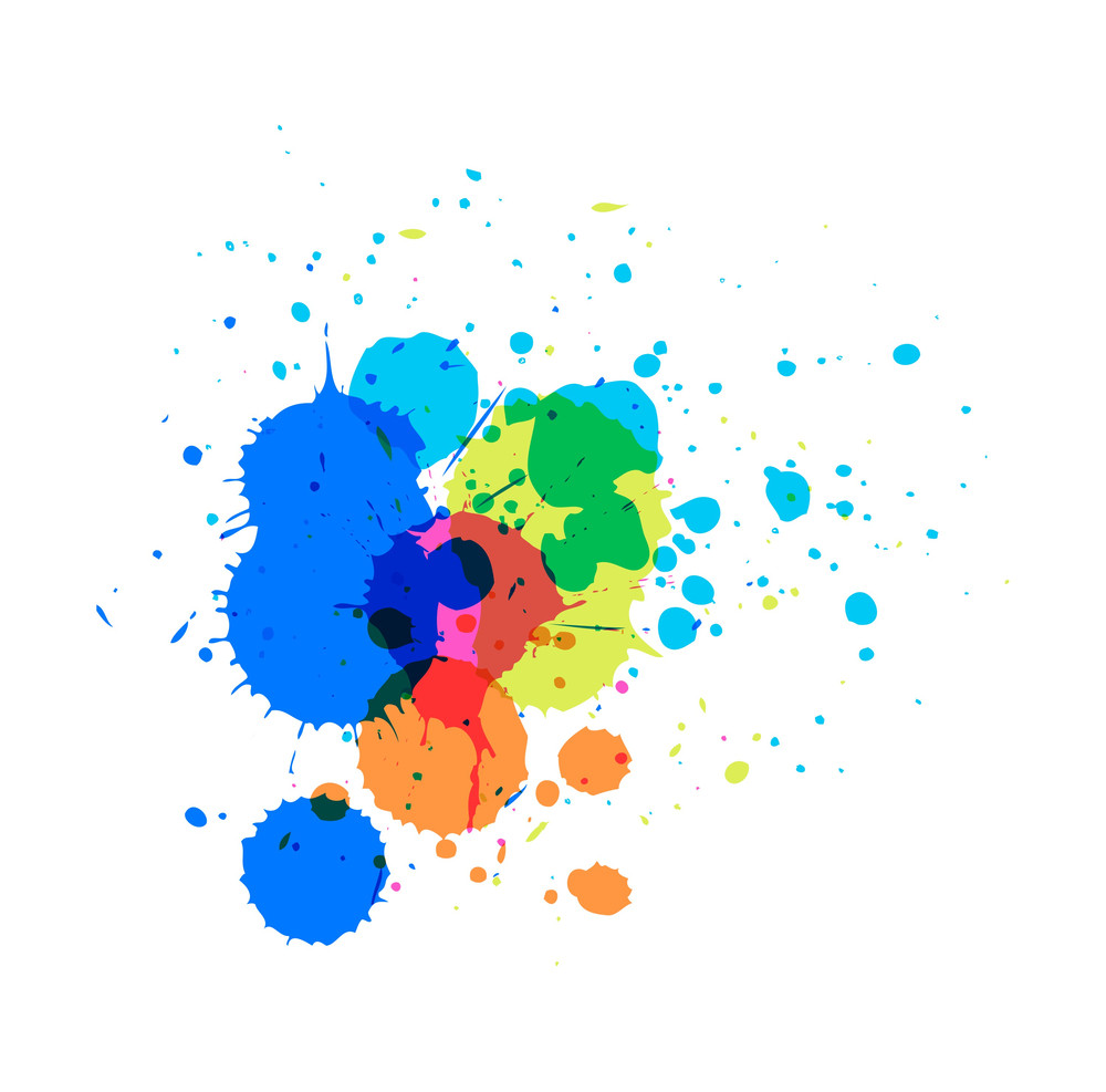 Colored Paint Splashes Vector