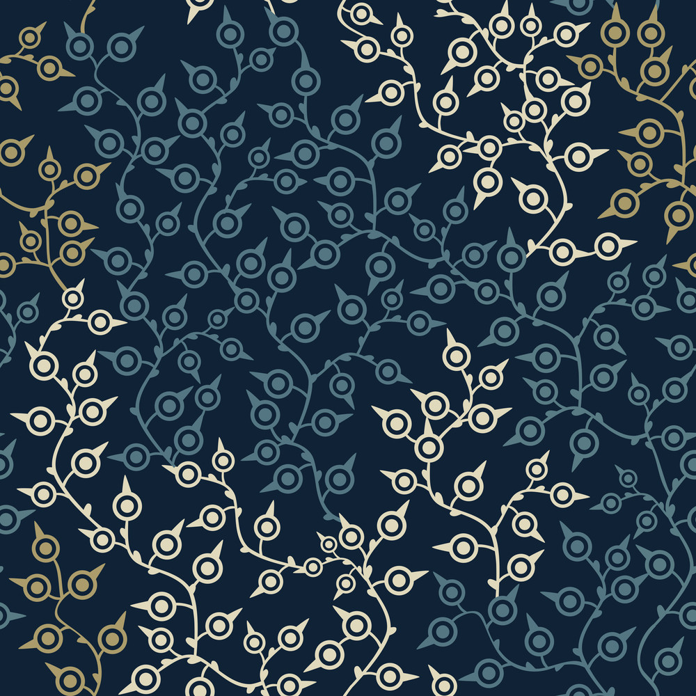 Colored Seamless Pattern With Leaf In Blue