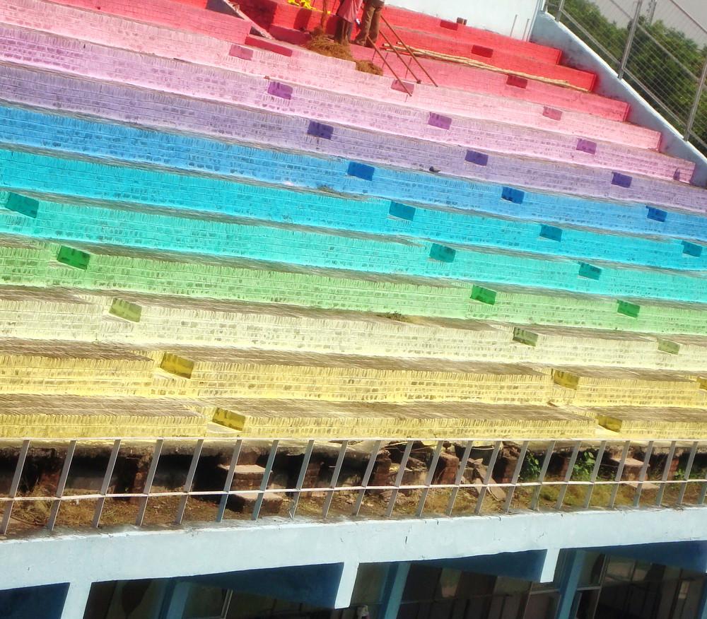 Colored Stadium Stairs