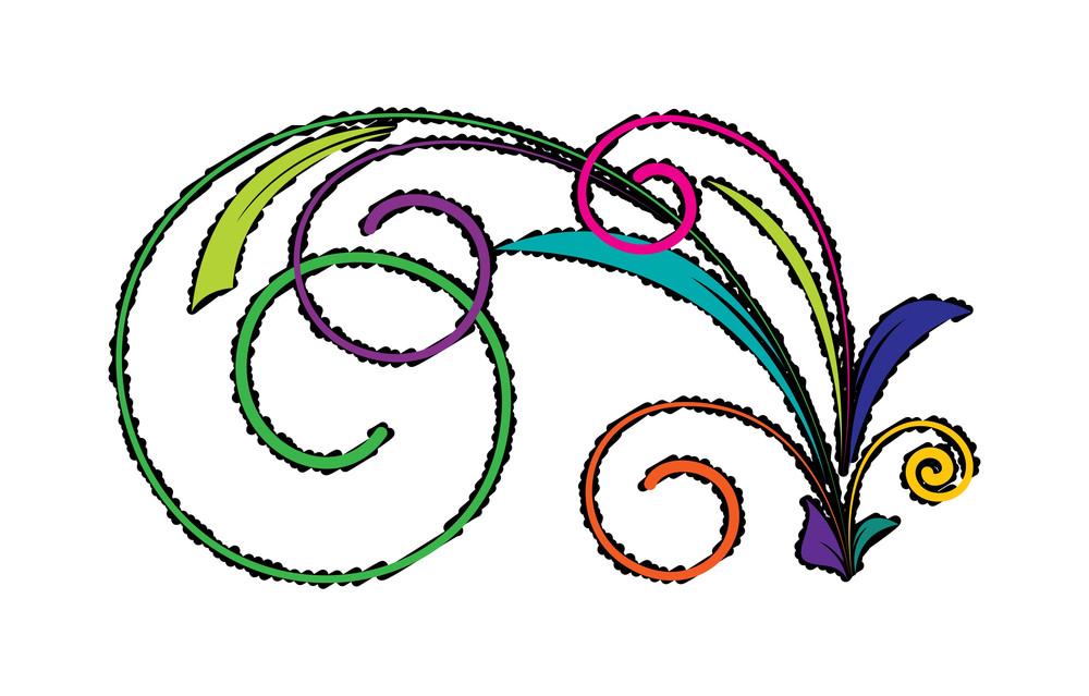 Colored Vintage Florals Design