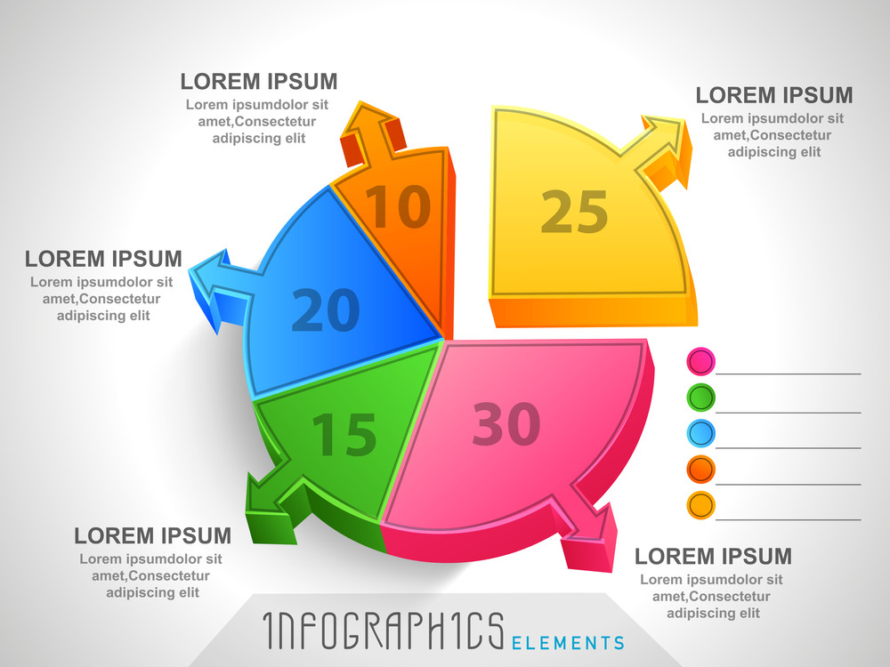 Colorful 3d Pie Chart Infographic Showing Different Statistics For