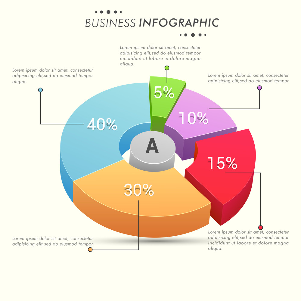 Colorful 3d pie chart with different percentage for your business colorful 3d pie chart with different percentage for your business repors and data presentation geenschuldenfo Image collections
