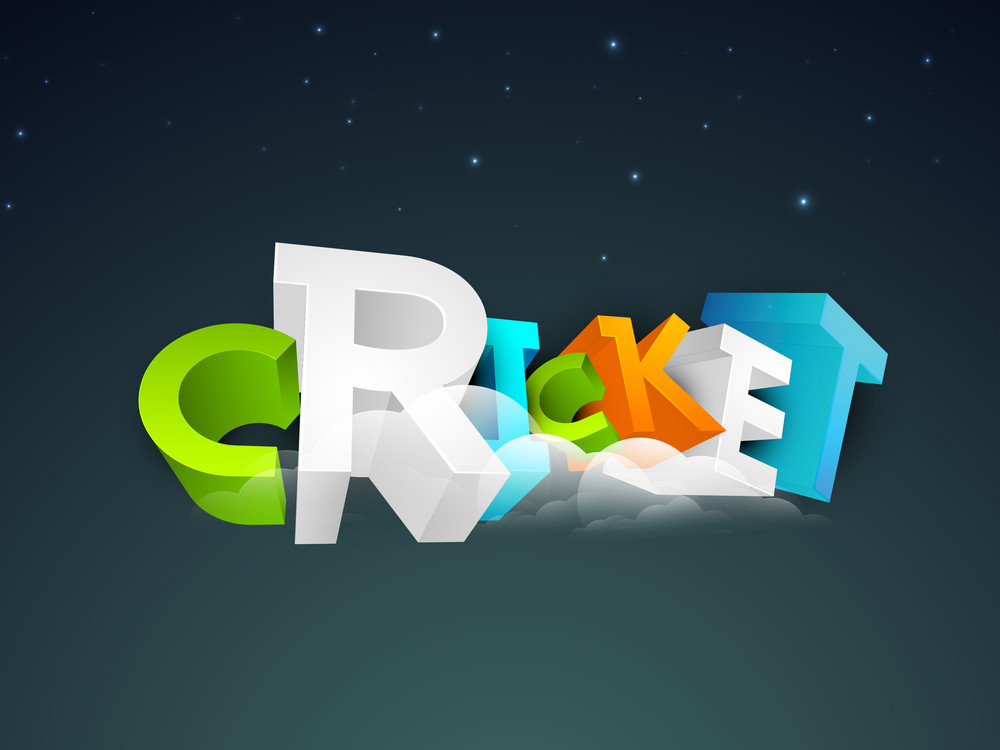 Colorful 3d Text Cricket On Shiny Blue Background.