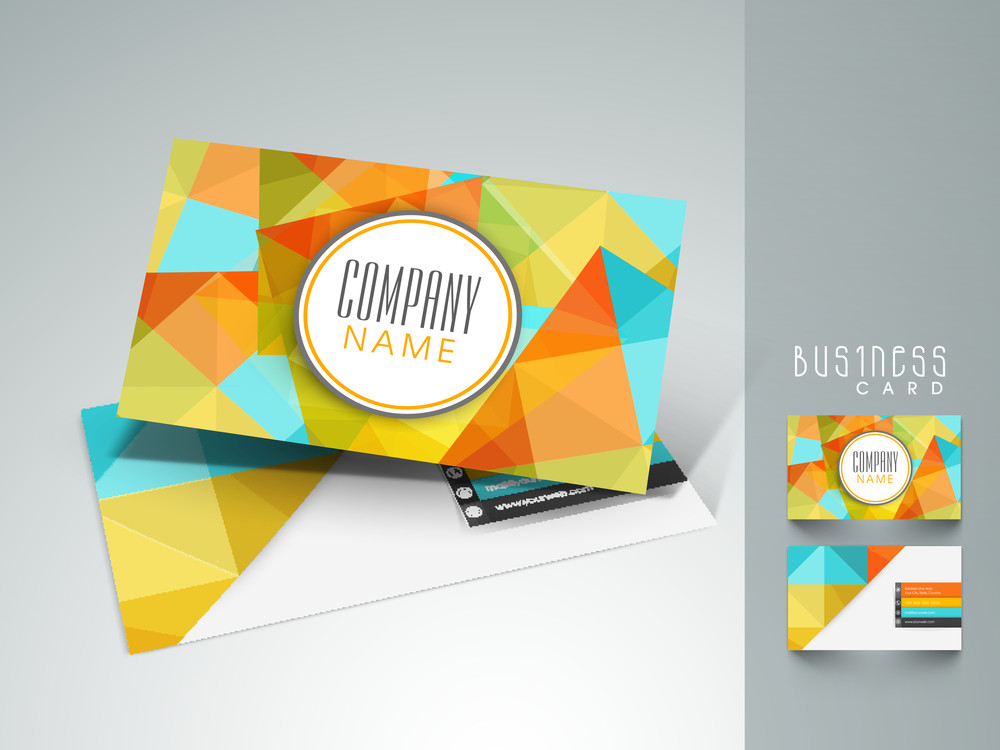 Colorful abstract business card design with front and back side ...