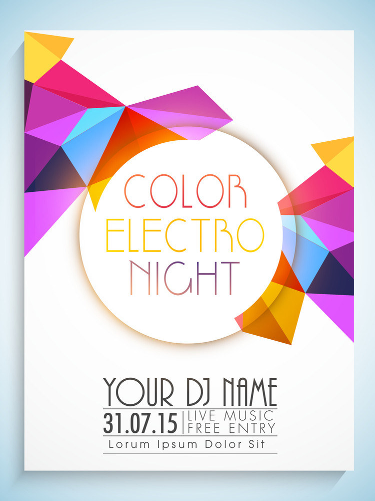 Colorful abstract design decorated flyer template or banner with details for Party Night.