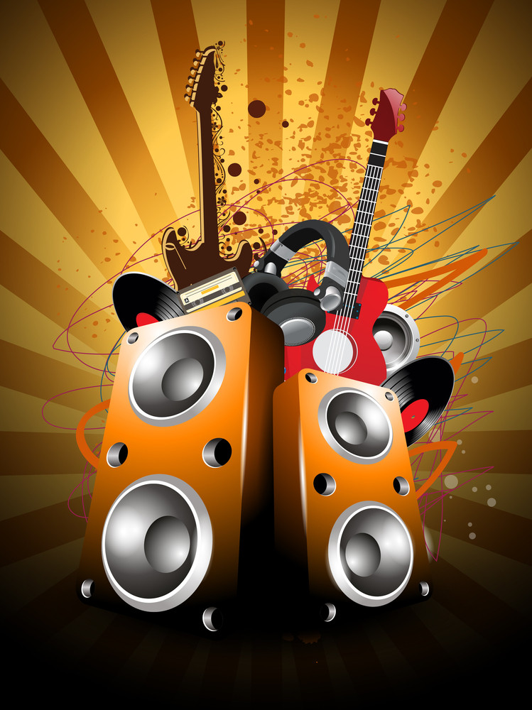 Colorful Abstract Musical Background With Loud Speakers And Guitars.