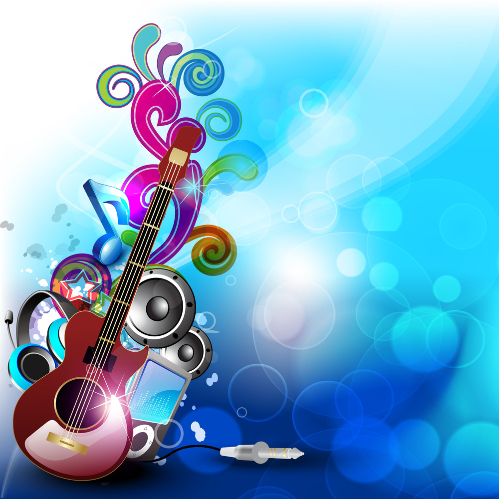 Colorful Abstract Speakers Background With Guitar.