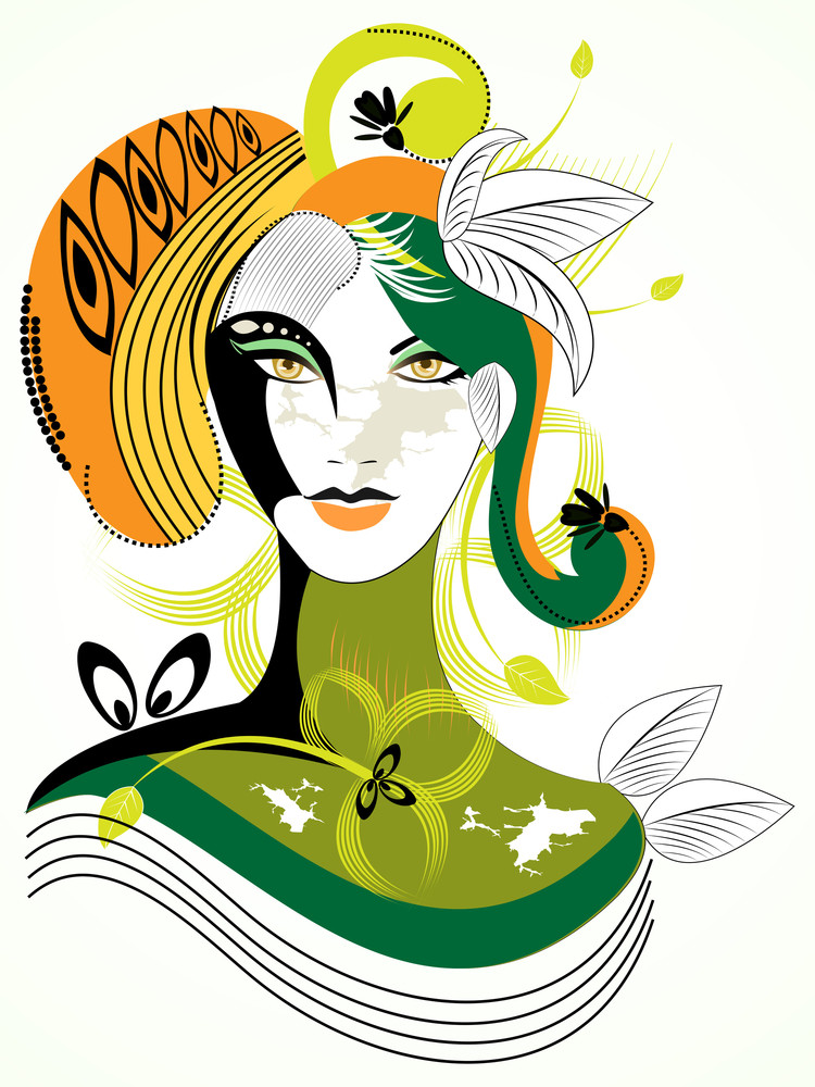Colorful Abstract Woman Wih Green Leaf