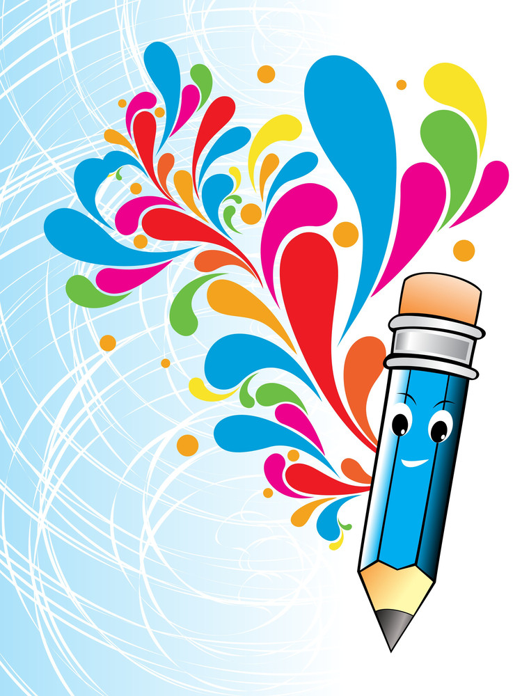 Colorful Artwork With Cute Blue Pencil