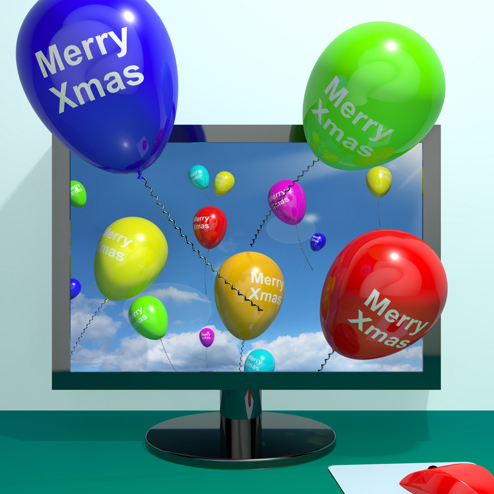 Colorful Balloons With Merry Xmas From Computer Screen For Online Greetings