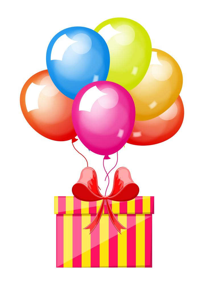 Colorful Ballooons With Gift Box