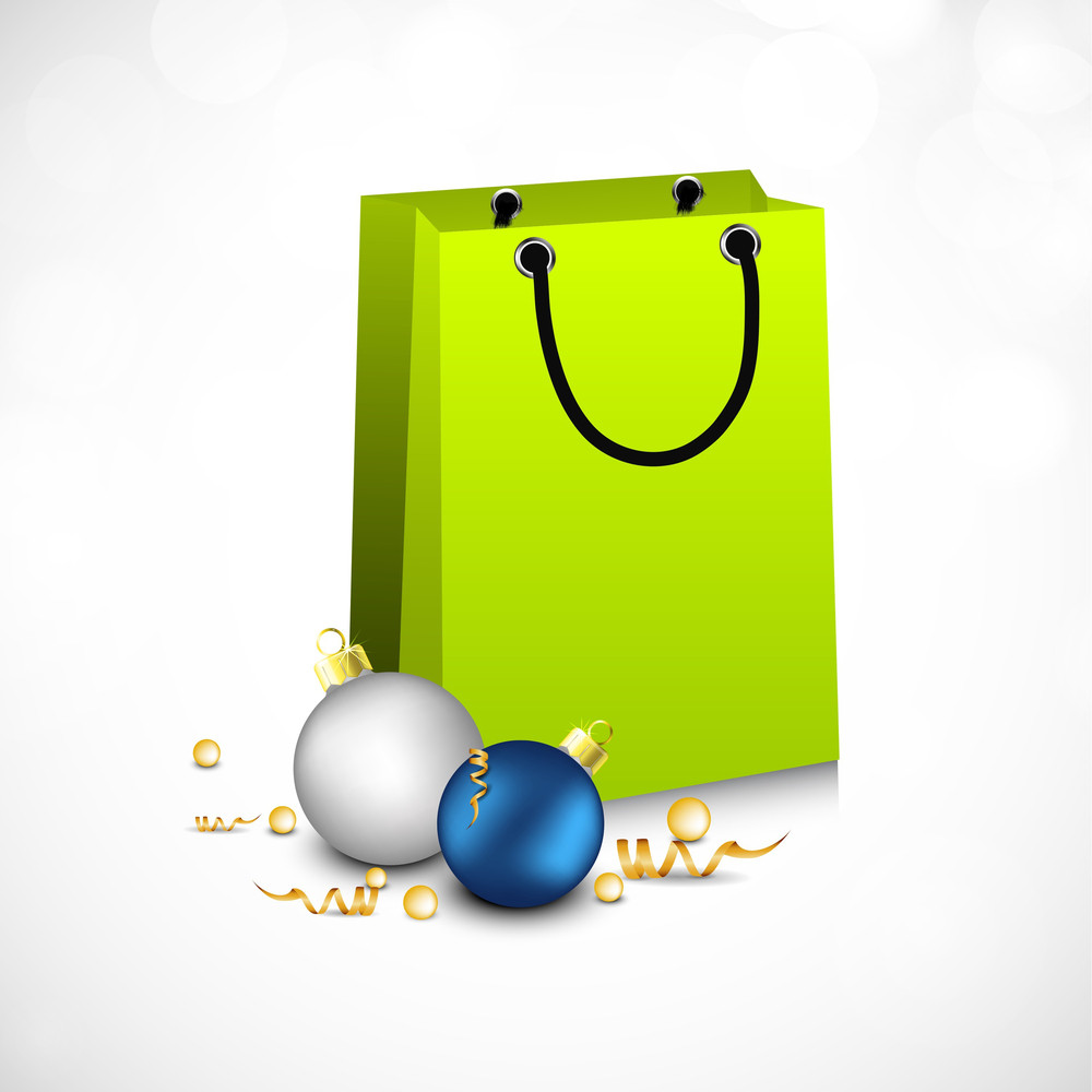 Colorful Blank Paper Shopping Bag On Wave Background