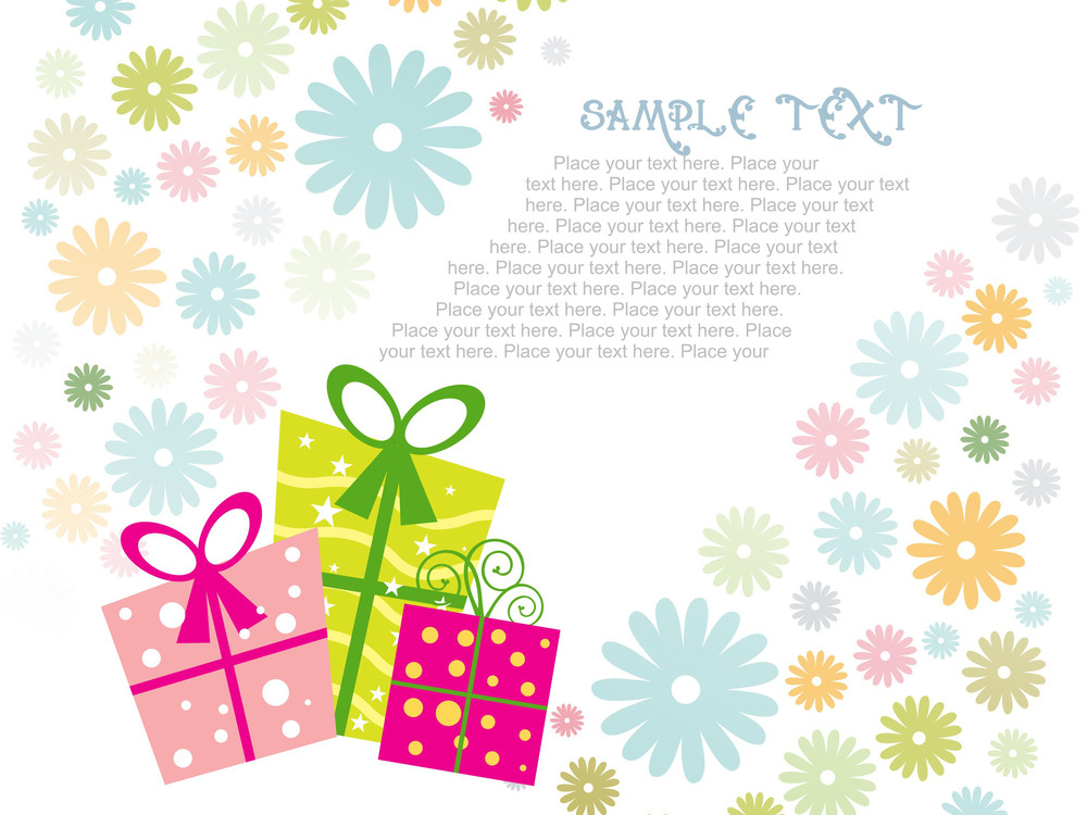 Colorful Bloom Background With Gifts