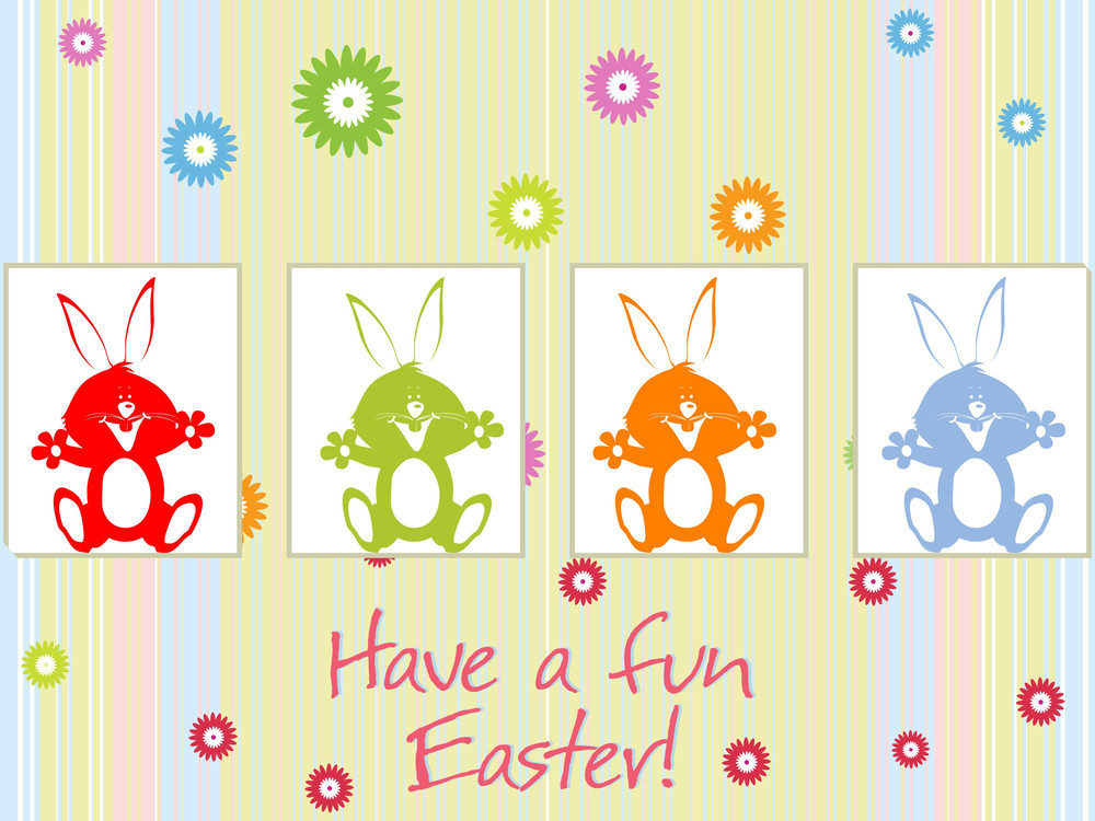 Colorful Blossom Background With Rabbit