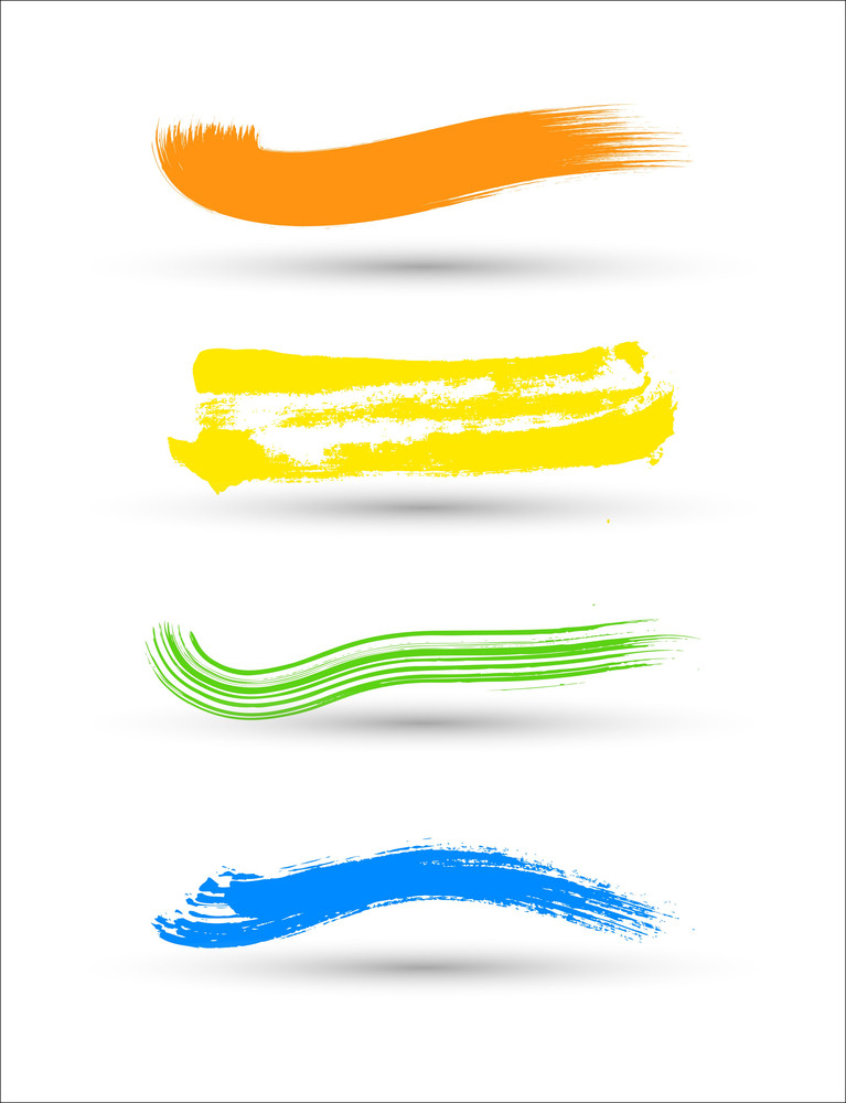 Colorful Brush Strokes Elements Vector