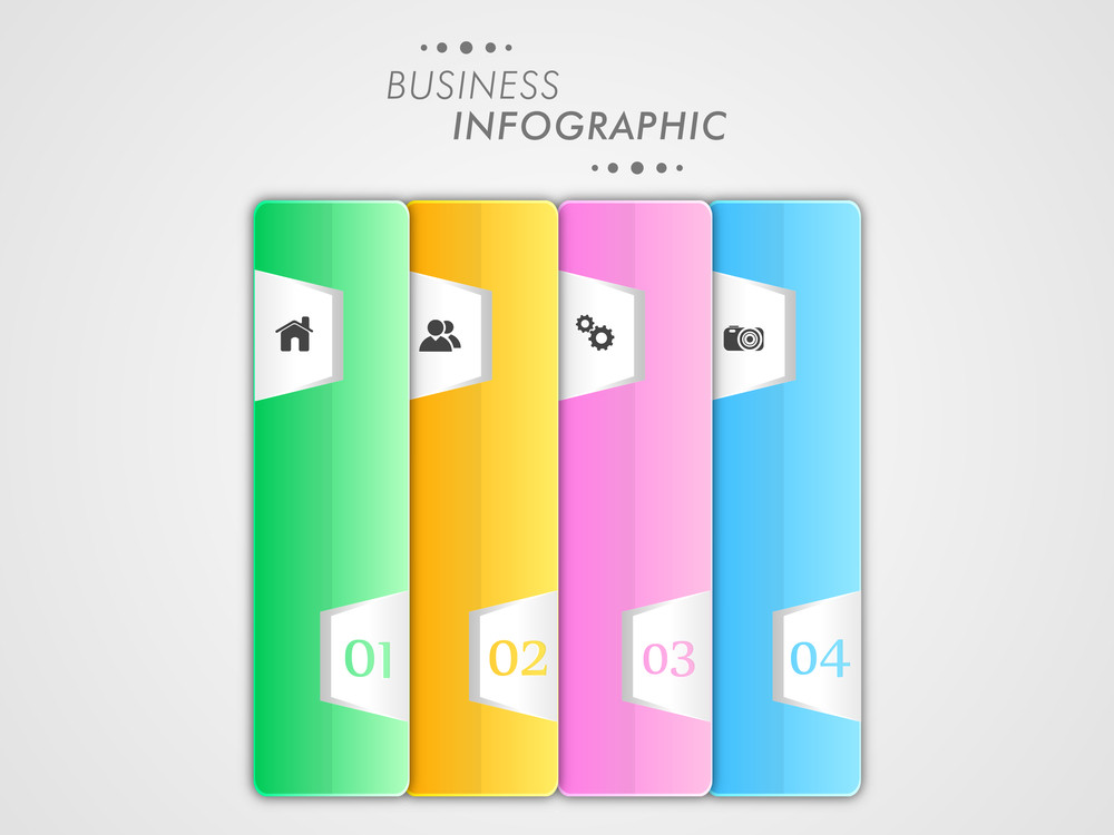Colorful business infographic paper layout with 2.0 web icons and numbers on grey background.