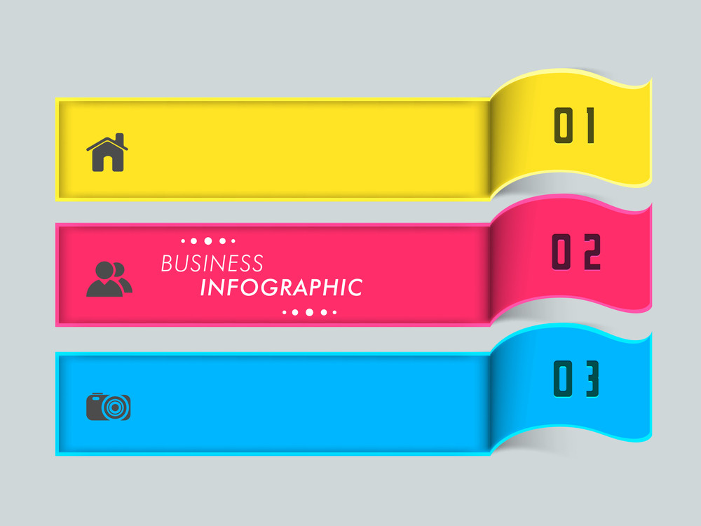 Colorful business infographic paper layout with numbers and 2.0 web icons.