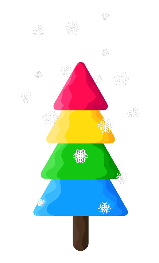 Colorful Christmas Tree With Snowflakes