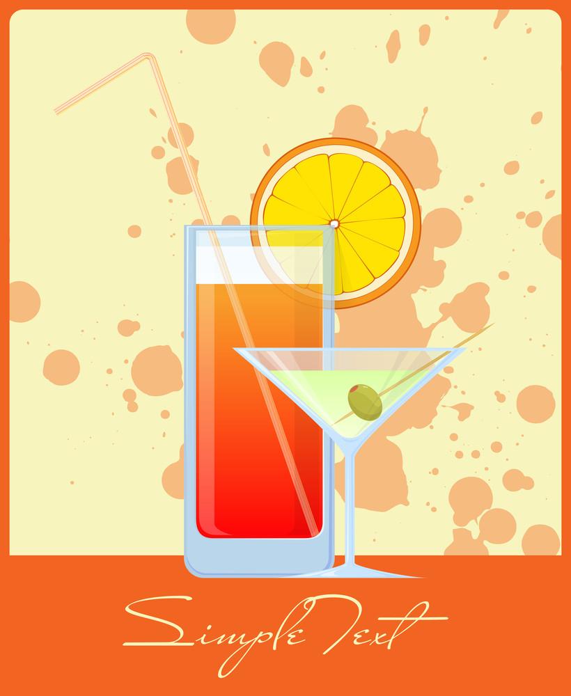 Colorful Cocktails On A Grunge-background. Vector Illustrations. Eps 10