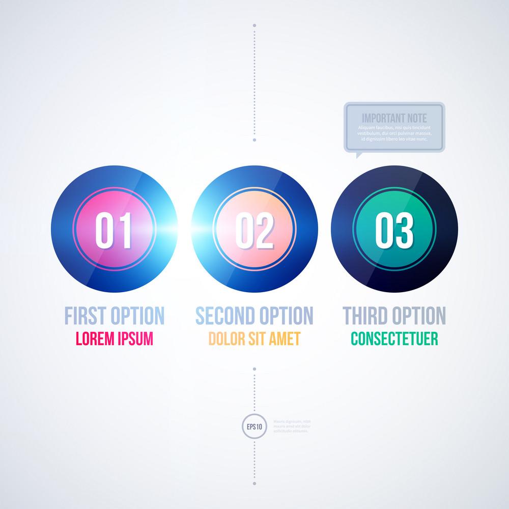 Three Round Options On White Background. Eps10