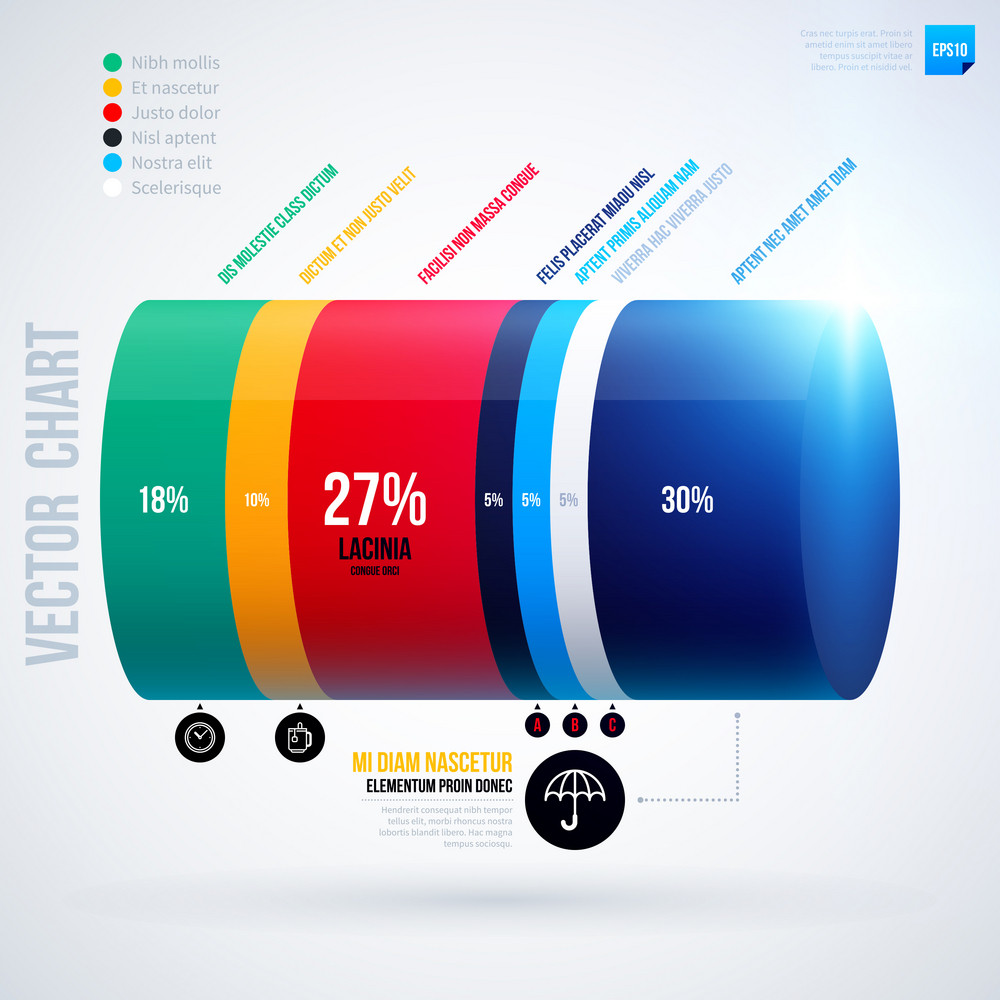 Infographics Chart Template With 3d Cylinder. Eps10