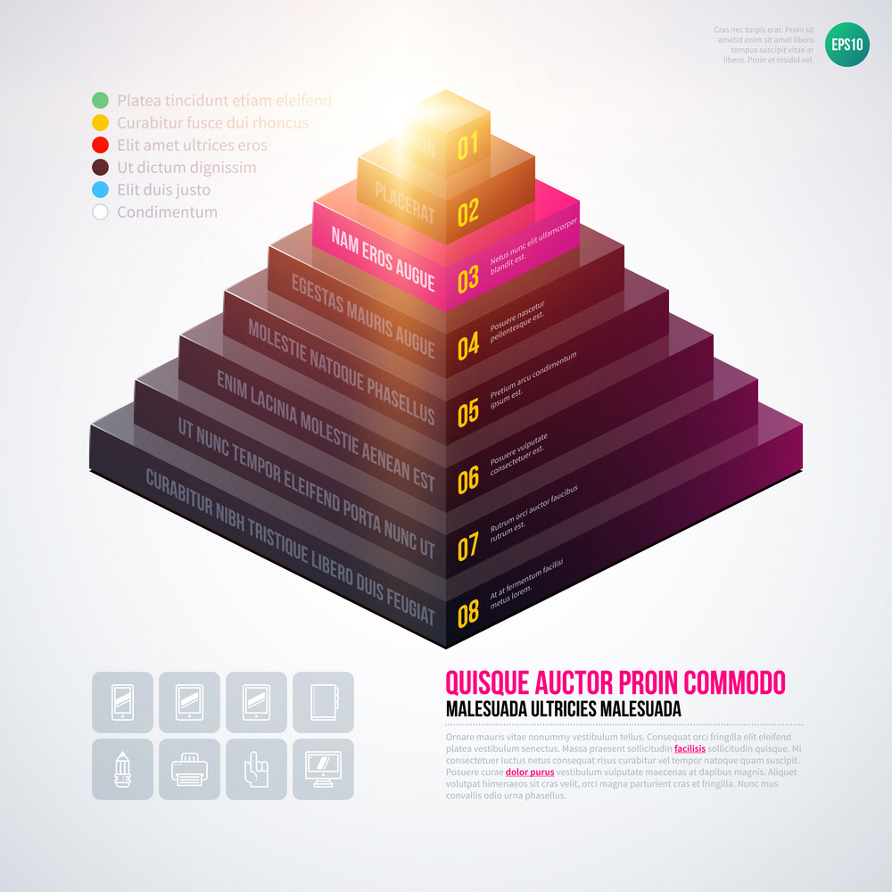 Isometric 3d Pyramid Chart Template On White Background Eps10