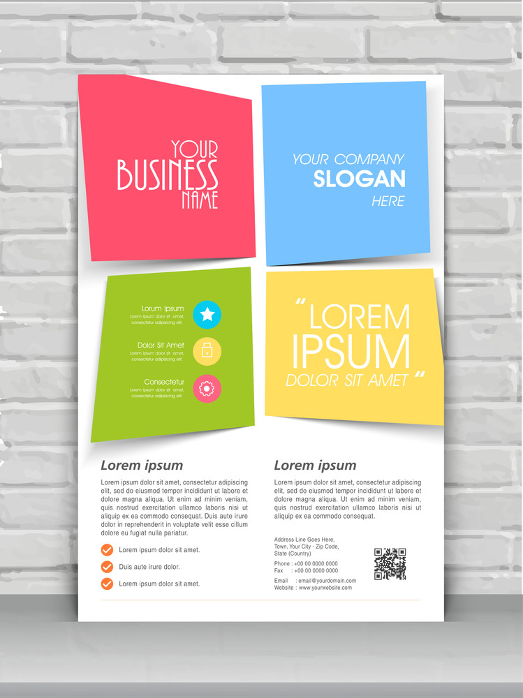 colorful creative one page flyer banner or template design for your