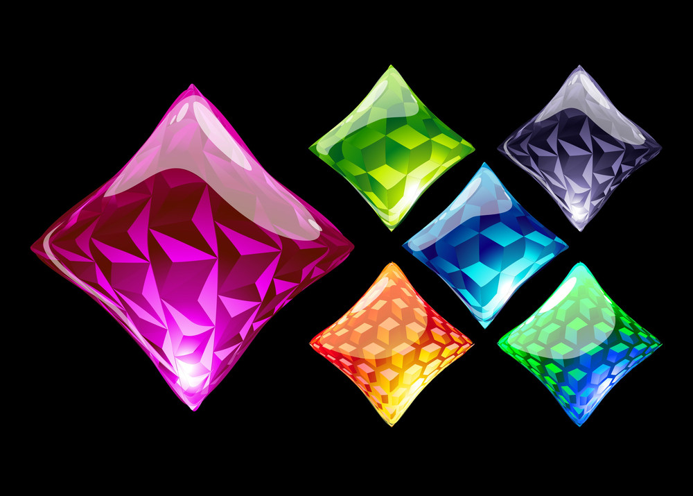 Colorful Crystals. Vector.