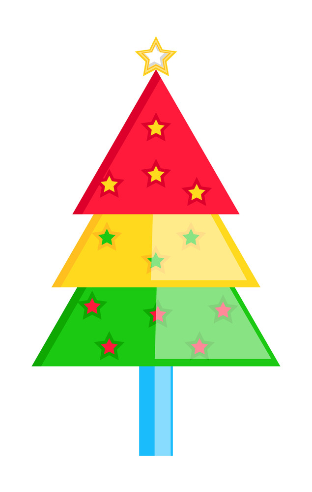 Colorful Decorative Christmas Tree With Stars